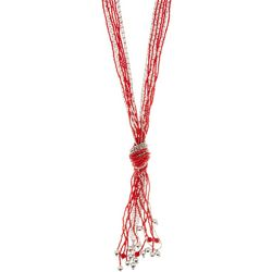 Bay Studio Red & Silver Tone Beaded Tassel Necklace