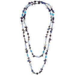 Bay Studio Long Blue Glass & Shell Strand Necklace