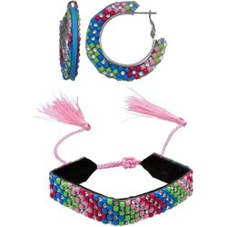 Jules B 2 Pc Fuchsia Pink Hoop & Bracelet Set