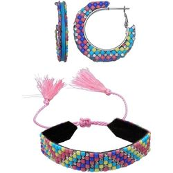 Jules B 2 Pc Pink Yellow Multi Hoop & Bracelet Set