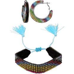 Jules B 2 Pc Rainbow Rhinestone Hoop & Bracelet Se