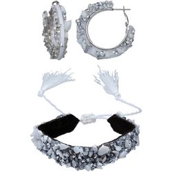 Jules B 2 Pc White Shell Chip Hoop & Bracelet Set