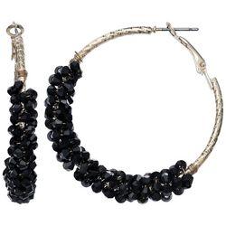 Bay Studio Black Multi-Faceted Bead Wrap Hoop Earrings