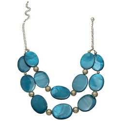 Bay Studio Double Row Teal Blue Shell Front Necklace