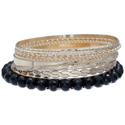 Bay Studio Black Bead & Two Tone Bangle Bracelet Set