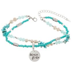 Turquoise Blue Beads & Beach Girl Charm Anklet