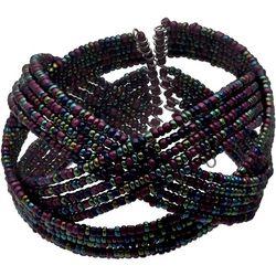 Bay Studio Purple Multi Seed Bead Braided Cuff Bracelet