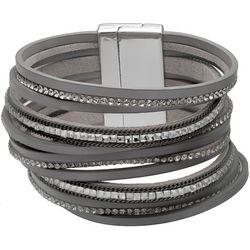 Bay Studio Rhinestone & Leather Magnetic Bracelet