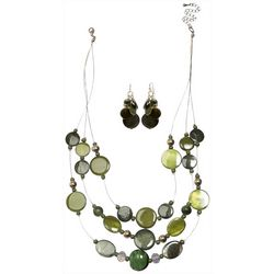 Bay Studio Olivine Green Shell Necklace Set