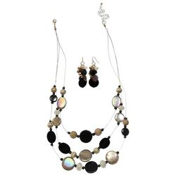 Bay Studio Black & Gold Tone Shell Necklace Set