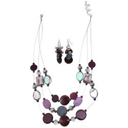 Bay Studio Purple Multi Shell & Beaded Necklace Set