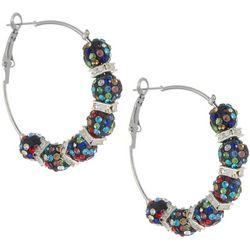 Bay Studio Multi Crystal Fireball Hoop Earrings
