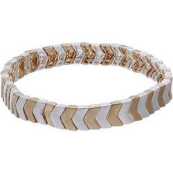 Chevron Two Tone Matte Stretch Bracelet