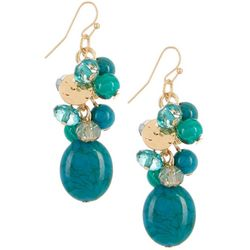 Bay Studio Teal Blue Beaded Cluster Dangle Earrings