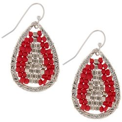 Bay Studio Red & Silver Tone Beaded Teardrop Earrings