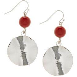 Bay Studio Red Bead & Wavy Disc Drop Earrings