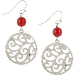 Bay Studio Red Bead & Silver Tone Filigree Disc Earrings