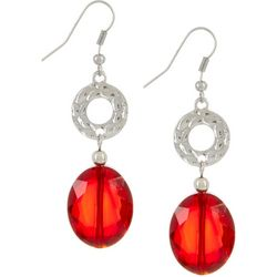 Bay Studio Red Glass Bead & Silver Tone Ring Earrings
