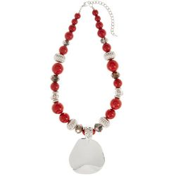 Bay Studio Red, Silver Tone & Hematite Tone Beaded Necklace
