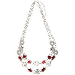 Bay Studio Silver Tone & Red Beaded Double Row Necklace