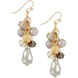 Bay Studio Grey Beads & Faux Pearl Cluster Earrings