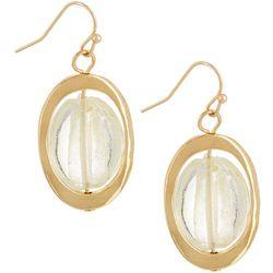 Bay Studio Gold Tone Glass Oval Drop Earrings