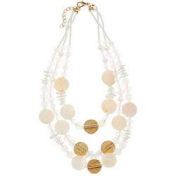 Bay Studio Gold Tone White Shell Triple Row Necklace