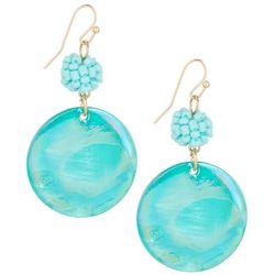 Bay Studio Aqua Blue Shell Disc Drop Earrings