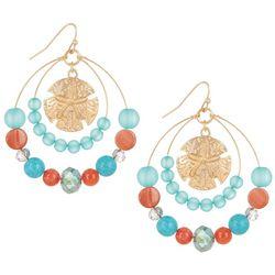 Bay Studio Aqua Blue & Coral Bead Hoop Coastal Earrings