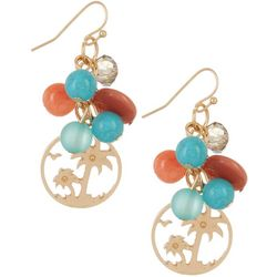 Bay Studio Multi Beaded Coastal Palm Tree Earrings