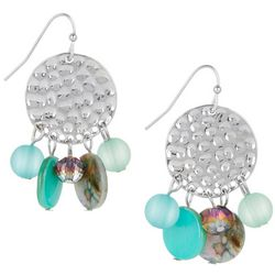 Bay Studio Aqua Bead & Shell Hammered Disc Earrings