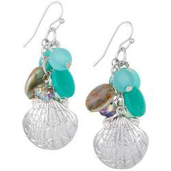 Bay Studio Aqua Blue Bead & Shell Charm Drop Earrings