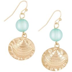 Bay Studio Aqua Blue Bead Gold Tone Shell Earrings