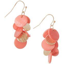 Bay Studio Multi Coral Orange Shell Disc Cluster Earrings