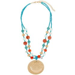 Bay Studio Coral Orange Aqua Blue Bead Pendant Necklace