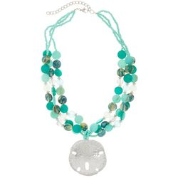 Bay Studio 3 Row Aqua Green Shell & Sand Dollar Necklace