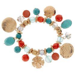 Bay Studio Turquoise Blue Coral Orange Shell Bracelet