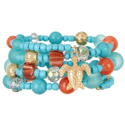 Bay Studio Aqua Blue & Coral Beaded Sea Turtle Coil Bracelet