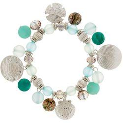 Bay Studio Aqua Blue Coastal Shell Stretch Bracelet