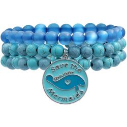 Chubby Mermaids Blue Manatee Charm Beaded Bracelet Set