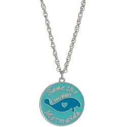 Chubby Mermaids Blue Manatee Disc Pendant Necklace