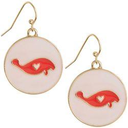 Chubby Mermaids Pink Manatee Disc Drop Earrings