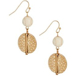 Bay Studio Bead & Textured Disc Drop Earrings