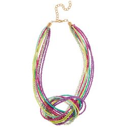 Bay Studio Multi Row Colorful Seed Bead Knot Necklace