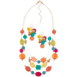 Bay Studio 3 Row Colorful Beads & Shells Necklace Set