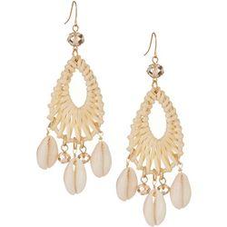 Bay Studio Rattan Cowrie Shell Statement Earrings