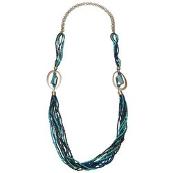 Bay Studio Multi Aqua Blue Seed Bead Necklace