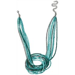 Bay Studio Blue Green Beaded Front Knot Necklace