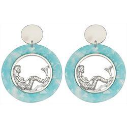 Bay Studio Aqua Blue Resin Mermaid Hoop Earrings