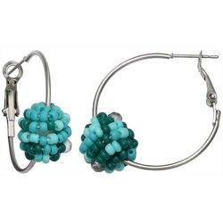 Bay Studio Seed Bead Ball Clutchless Hoop Earrings